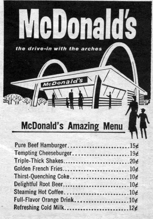McDonald's Amazing Menu back in the day...