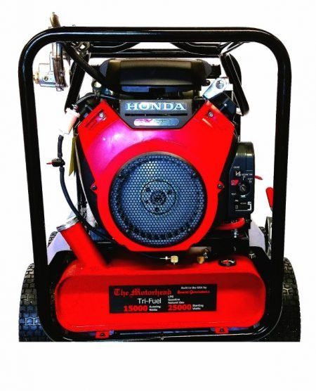 The Motorhead Tri Fuel Generator is our most popular and powerfull tri fuel generator