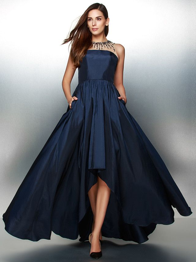 TS Couture® Formal Evening Dress A-line Jewel Asymmetrical Taffeta with Crystal Detailing - USD $119.99