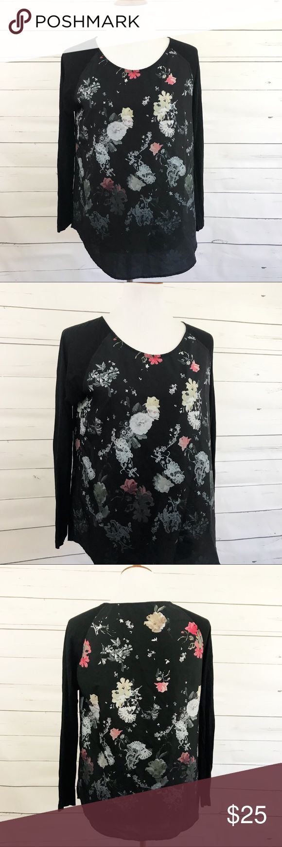 """French Connection black floral baseball tee Black floral silky front baseball tee by French Connection. Perfect for layering under a vest with jeans and boots. Size medium. Approximate flat measurements: bust- 19.5"""", overall length- 26"""" ✅ offers welcome French Connection Tops"""