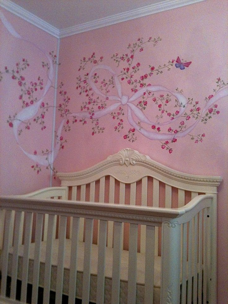 Captivating Gorgeous Nursery Mural With Roses And Ribbon