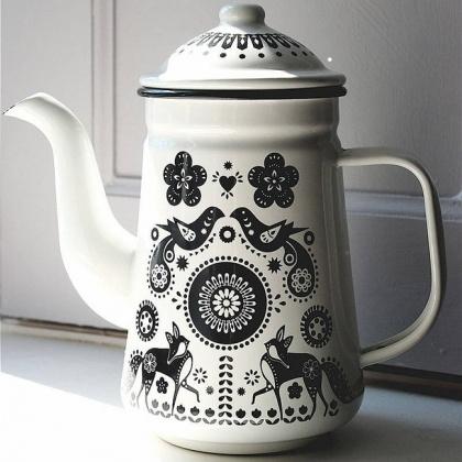 Folklore Enamel Tea / Coffee Pot ~ Lark