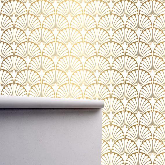 Geometric Art Deco Gold White Wallpaper Monochrome Embossed Etsy Embossed Wallpaper Geometric Art Peel And Stick Wallpaper