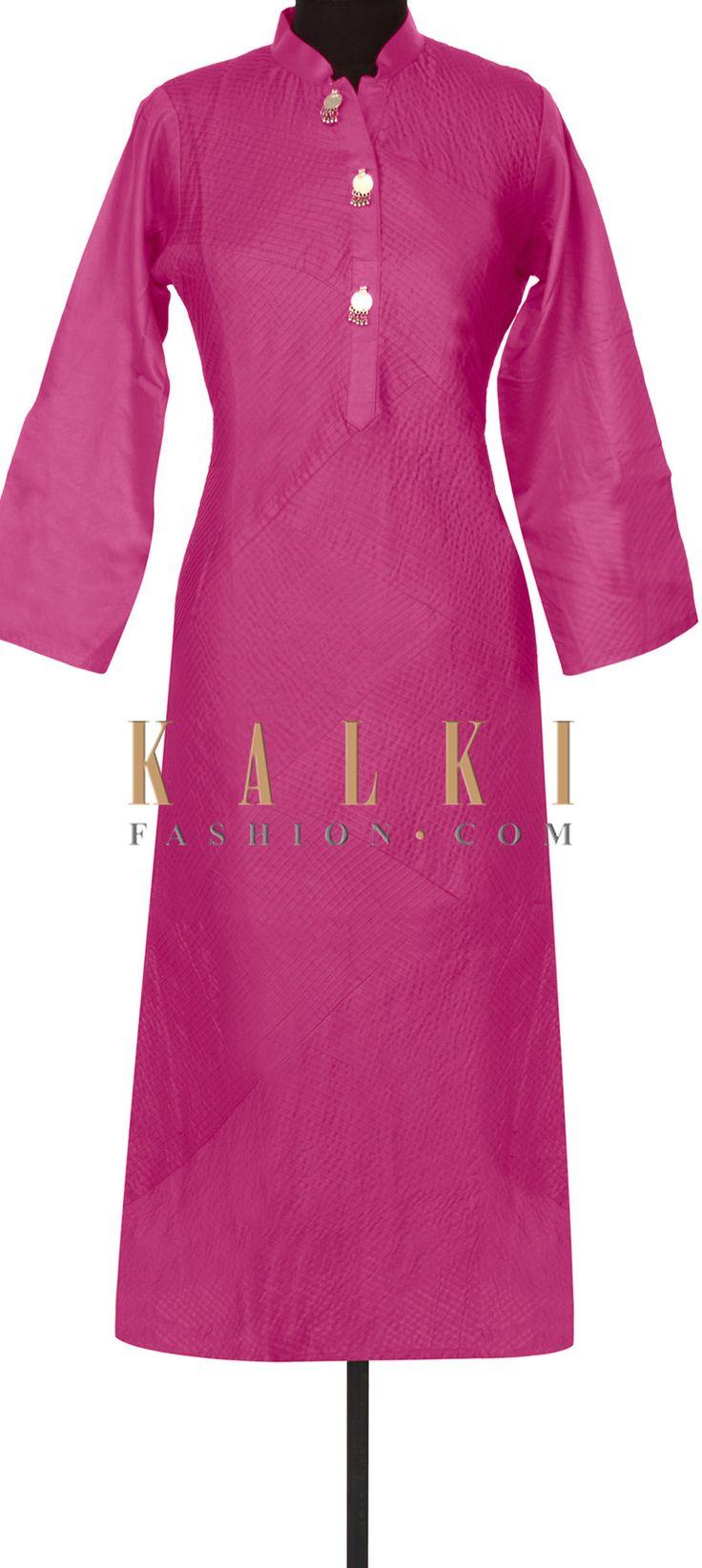 Buy this Pink kurti enhanced in pin tucks only on Kalki