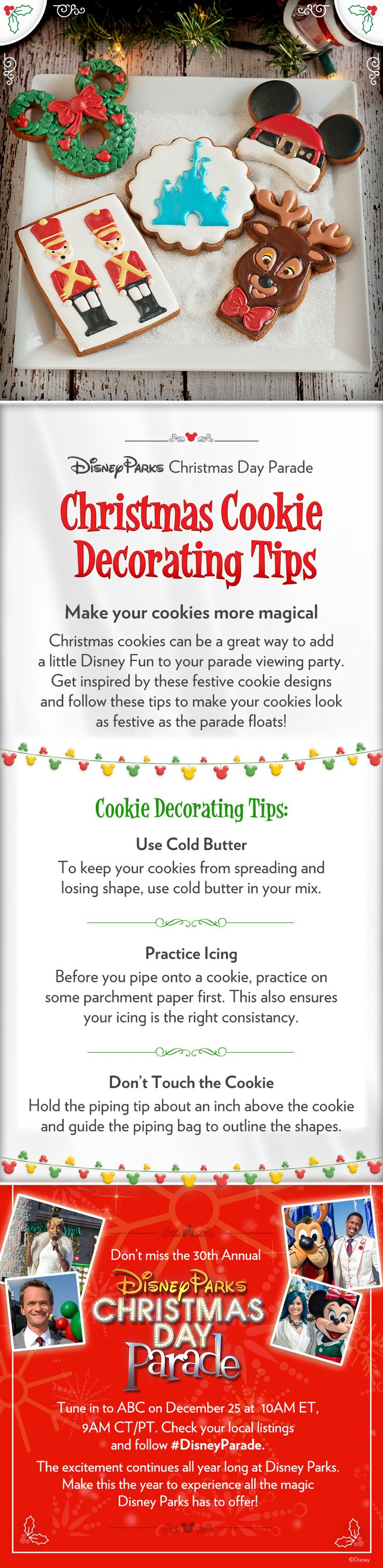 Make your Christmas cookies more magical with these decorating tips! #DisneyParade