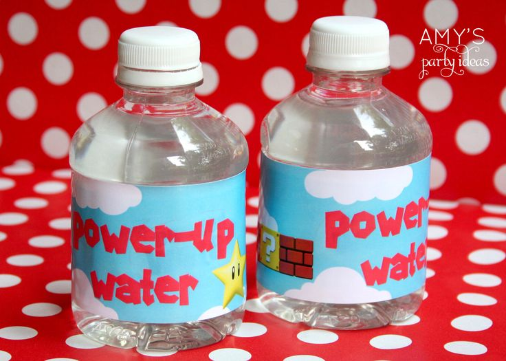 super mario party ideas water bottle labels. Great idea for the #LegoDuploParty