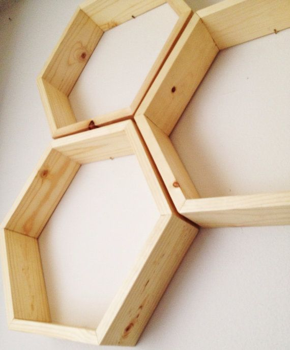 Set of Three Hexagon Shelves / / / Honeycomb by OllieandPenny