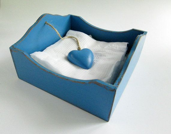 Blue Serviette / Napkin Holder / Box with Ceramic Heart Weight on Etsy, $28.00