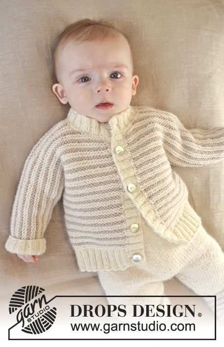 """Knitted DROPS jacket in garter st with stripes and rib edges in """"Karisma"""". Size 0 – 4 years. ~ DROPS Design"""