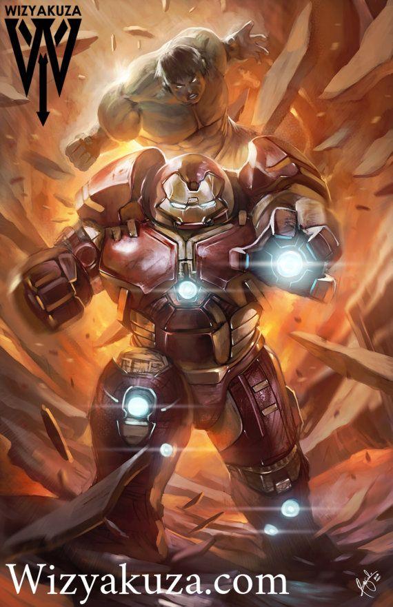 Iron Man (Hulkbuster Armor) vs. The Hulk - Marvel Comics - 11 x 17 Digital Painting Print