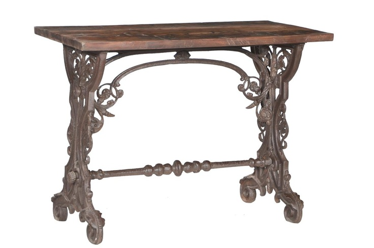 Elaborate Ironwork with Teak Wood Top
