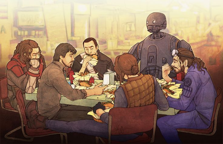 Love this! Rogue One in The Avengers Shawarma scene: Cassian as Black Widow, Jyn as Hawkeye, Bodhi as Bruce Banner, K-2SO as Tony Stark, Chirrut as Thor and Baze as Steve Rogers.