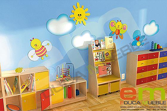Conjunto decorativo para pared con un sol y dos nubes. #infantil #primaria #niños - Tienda Educamueble
