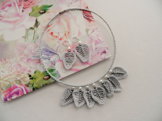 Crochet Choker Necklace and Earrings Set  Grey by CraftsbySigita