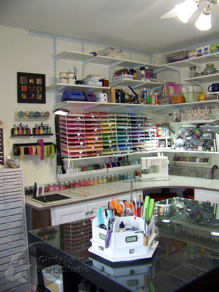 Lovely Scrap room. With quite a few ideas on crafty storage.