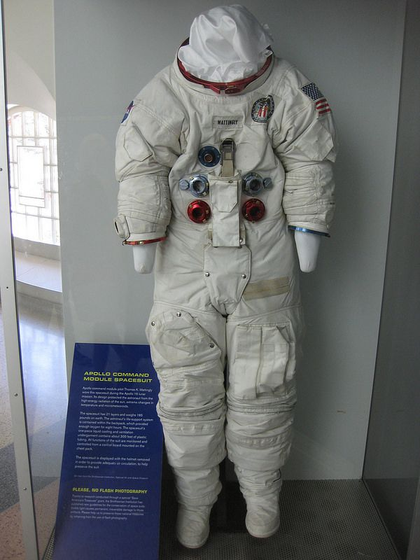 Astronaut Ken Mattingly's spacesuit, worn on Apollo 16.  Mattingly orbited the moon while John Young and Charles Duke descended to the lunar surface...
