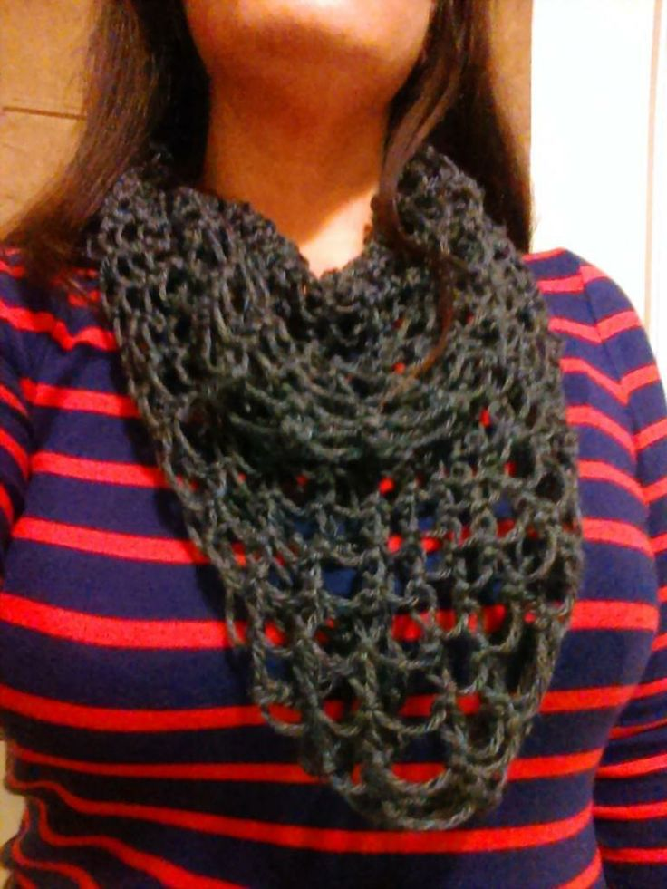 Knitting Loop Stitch : Infinity scarf loom knit on the martha stewart