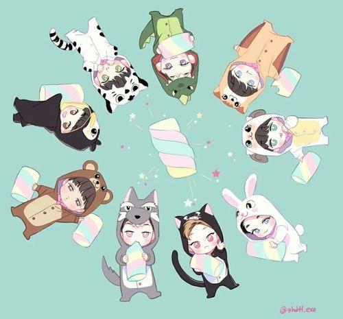 EXO #EXOluXionDotInSeoul❤ Fanart ♥ Exo cute chibi Chanyeol Kai Baekhyun Xiumin D.O. Chen Lay Sehun Suho