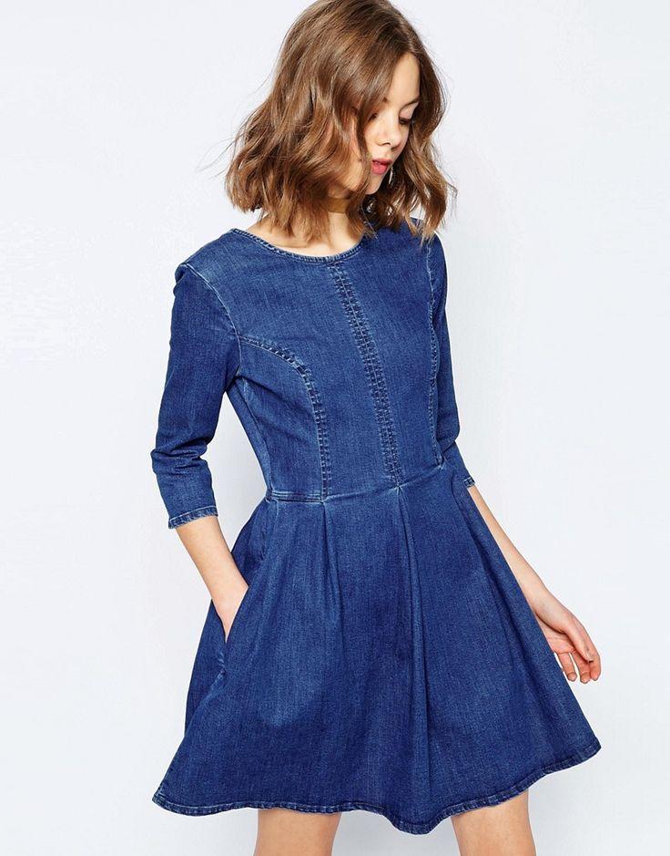 Image 1 ofASOS Denim Skater Dress In Mid Blue Wash