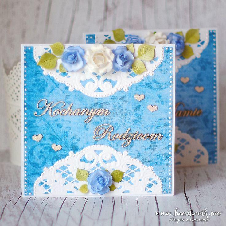 Podziękowania dla rodziców od pary młodej. Eleganckie kartki w kolorze niebieskim, podziękowania ślubne za miłość i wychowanie. Kartki dla rodziców.