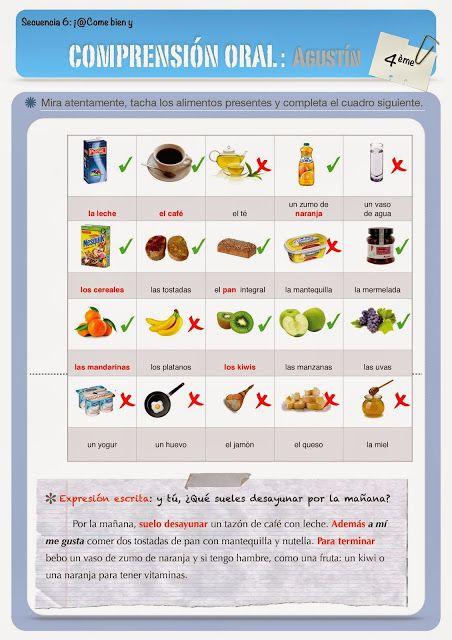 CLASE DE ESPAÑOL : proposition didactique : el desayuno de Agustin ( ex corrigé)
