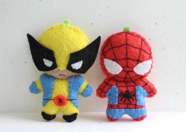 Patterns: Felt Spiderman and Wolverine. $6.00, via Etsy.