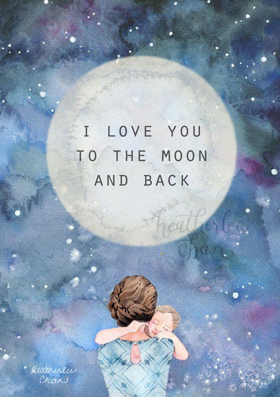 c5a0e9de40193 Mother Art- I love you to the moon and back - Watercolor