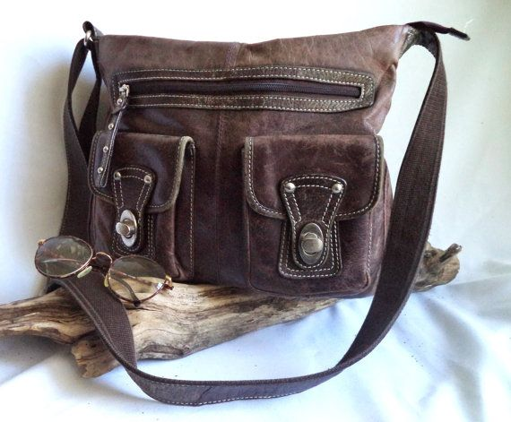 GORGEOUS grunge 90s Brown Leather shoulder Bag by MushkaVintage3