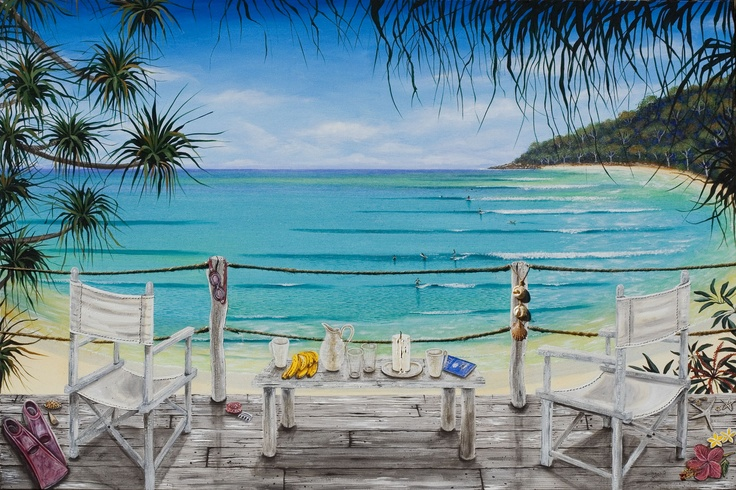 Veranda: a large canvas painting,102 x 153cm loosely based on beautiful Noosa Beach and a relaxed coastal beach house.