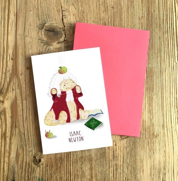 Isaac Newton A6 Greetings Card Funny Birthday Card Science