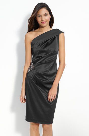 Eliza J Beaded One-Shoulder Satin Dress (Regular & Petite) | Nordstrom