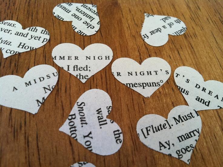 novel wedding confetti - A Midsummer Night's Dream by William Shakespeare - 500 heart shaped confett. $6.00, via Etsy.