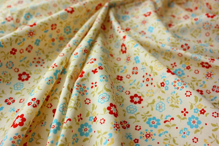 Lecien Fabric / Japanese Fabric / Floral Fabric / Little Ice Blue and Red Flowers / Craft Patch Quilt / Rare / Fat Quarter of a Metre by TCRFabricStore on Etsy