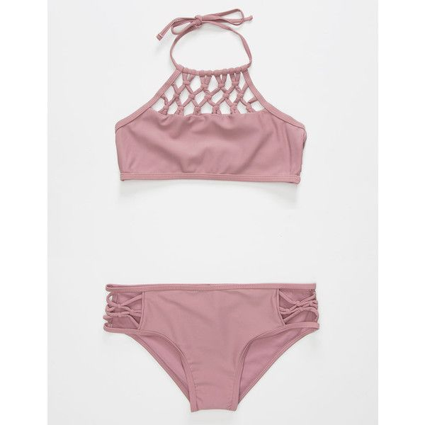 Damsel High Neck Girls Bikini Set (€32) ❤ liked on Polyvore featuring swimwear, bikinis, high neck halter top, high neck halter bikini, macrame halter top, bikini swimwear and halter-neck bikinis