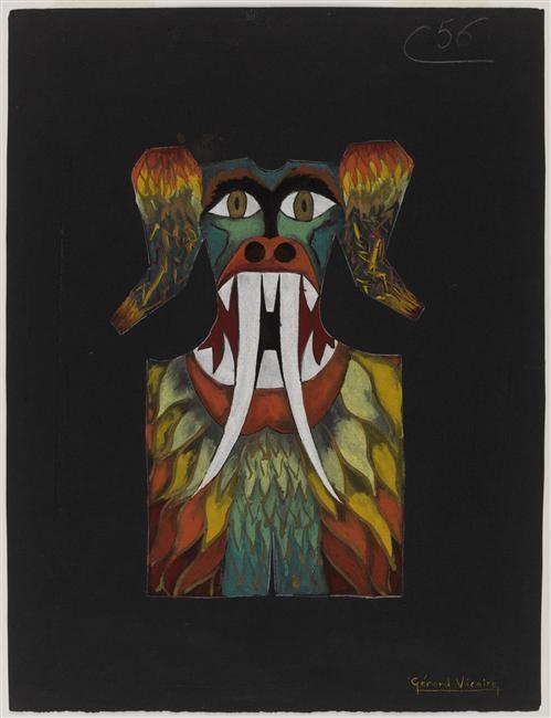 Maquette de costume de clown blanc à motif de monstre avec défenses, de Gérard Vicaire (né en 1927). Marseille, MuCEM, Musée des Civilisations de l'Europe et de la Méditerranée. Photo (C) RMN-Grand Palais (MuCEM) / Franck Raux. (C) Droits réservés