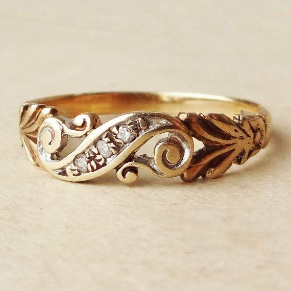 1940's Art Nouveau Design Gold Diamond Scroll Ring, Vintage Diamond & 9k Gold Engagement Ring,  Approx. Size US 7.5