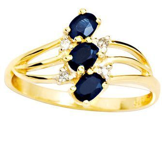 Sapphire Ring - Three Stone - Dress - BEE-24851-SLG