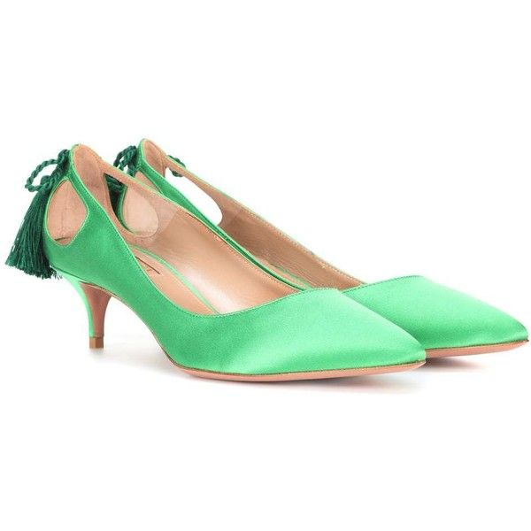 Aquazzura Forever Marilyn 45 Satin Pumps ($615) ❤ liked on Polyvore featuring shoes, pumps, green, satin shoes, green satin shoes, green pumps, satin pumps and aquazzura