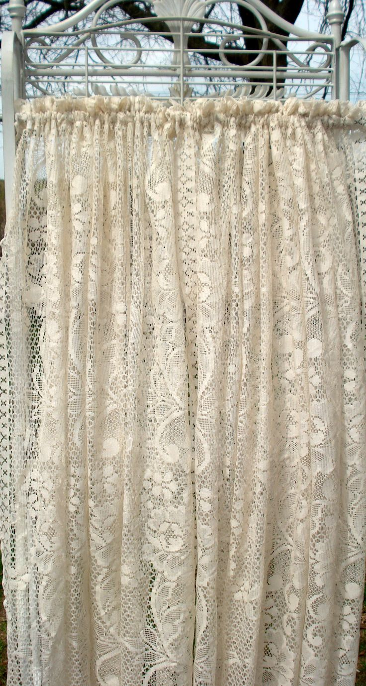 Vintage curtains lace white panels drapes window coverings floral - Find This Pin And More On Window Coverings One Pair Vanilla Color Lace Curtains With Classic Floral
