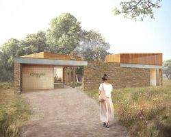 dow jones architects crafts sandstone maggie's centre : london-based practice dow jones architects has submitted planning application for a maggie's centre to be built within the grounds of velindre cancer care hospital in cardiff, UK. constructed on the land of existing facilities, maggie's centres are designed to be warm, welcoming environments that provide practical, emotional and social support for anyone affected by cancer.