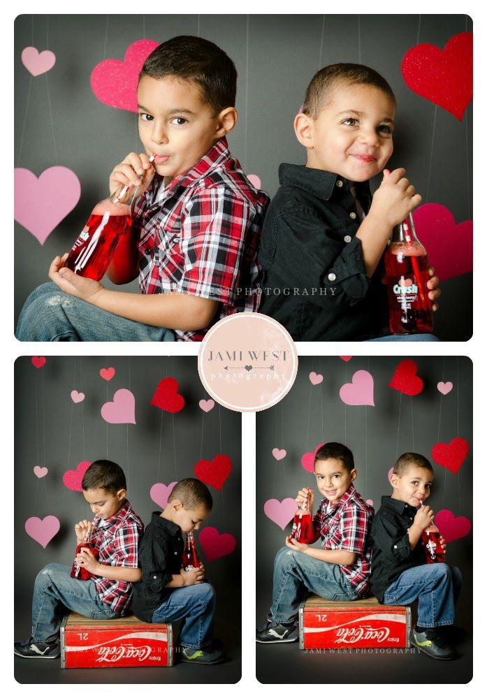 Valentines day photo ideas, photography session, valentines photos, studio, mini session, kids, babies, backdrops, boys, coco cola. Jami West Photography, Seattle Photographer.
