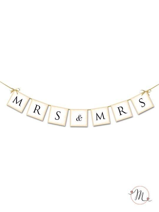 Ghirlanda Mrs & Mrs.  Ghirlanda in cartoncino rigido per allestire la vostra sala.  Misura approssimativa: 0,80 cm. #lgbt #samesexwedding #lovewins #loveislove #gaywedding #lesbianwedding #gaylove #same-sexwedding #samesexweddings #unionicivili #wedding #matrimonio