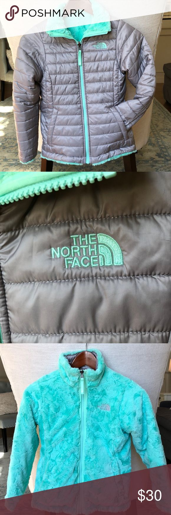 North Face Thermoball Jacket Girls (size 8-10) reversible North Face Thermoball Jacket.  Super snuggly, soft lining AND reversible with pockets on both sides. Silver gray exterior and sea foam polyester silken fleece lining. Purchased for a ski trip two winters ago and rarely worn since.  Excellent condition and comes from a non-smoking home. Perfect for the cold temps and North Face quality will last through many hand-me-downs. North Face Jackets & Coats Puffers