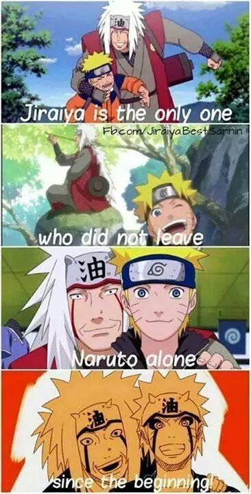 Jiraiya and Naruto. This is sweet but not necessarily true - he left Naruto when he was a baby, remember?