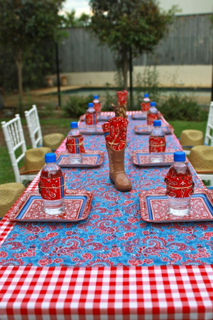 I like using the blue fabric over the red gingham check. Great choice...and the blue lidded bottles just keep the red/blue theme going.