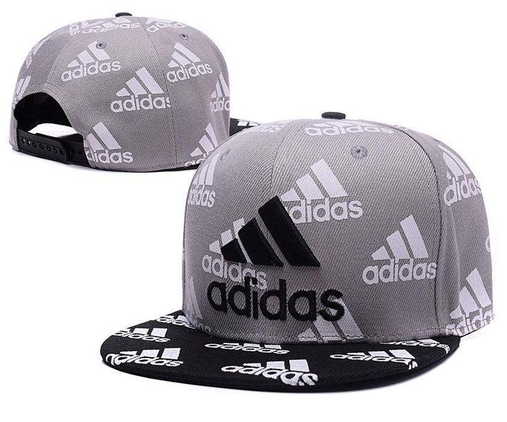 Mens Adidas Classic 3D Embroidered Logo Full Adidas Logo Printed Fashion Snapback Adjustable Cap - Grey