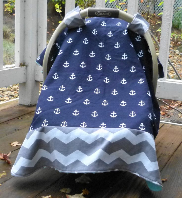 Anchors u0026 Chevron Baby Car Seat Canopy Cover in Navy and white; Nautical Car Seat : baby canopy cover - memphite.com