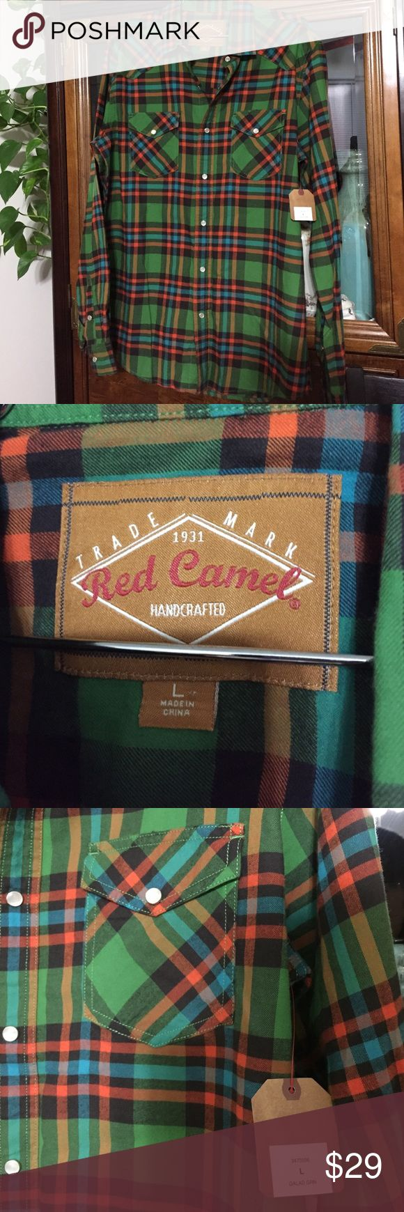 Red Camel NWT Men's Shirt Size Large This classic large men's shirt is multicolored plaid in orange-red, greens, real-blue & black - snaps down the front - handsomely stylish. Red Camel Shirts Casual Button Down Shirts