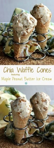 Chia Waffle Cones are mildly sweet and will hold as much ice cream as you want.  Sturdy yet tender cones are made in an easy to find waffle cone maker.