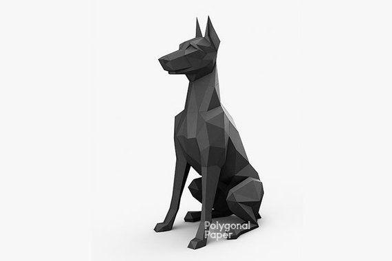 Papercraft 3d Doberman Small Dog Sculpture Pepakura Gift For Dog